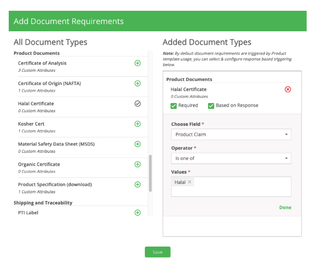 Add Document Requirements
