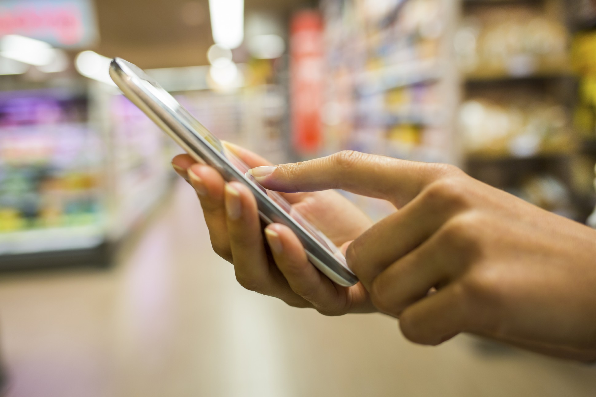 Smartphone in grocery store