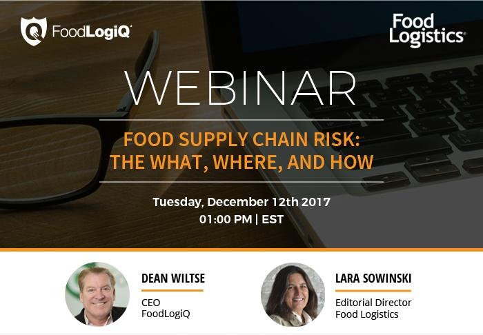 FoodLogiQ CEO Discusses Supply Chain Risk During Food Logistics Webinar